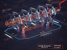 C4D-Cyber device 能量装置设计