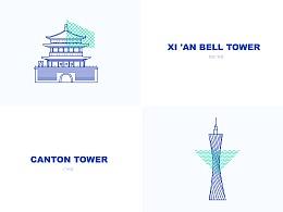 中国著名显著线条插画设计
