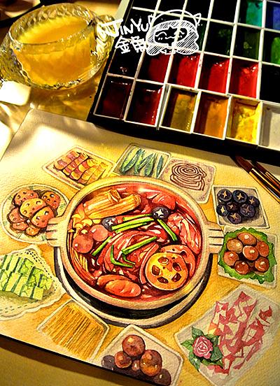 手绘美食——火锅宴图片
