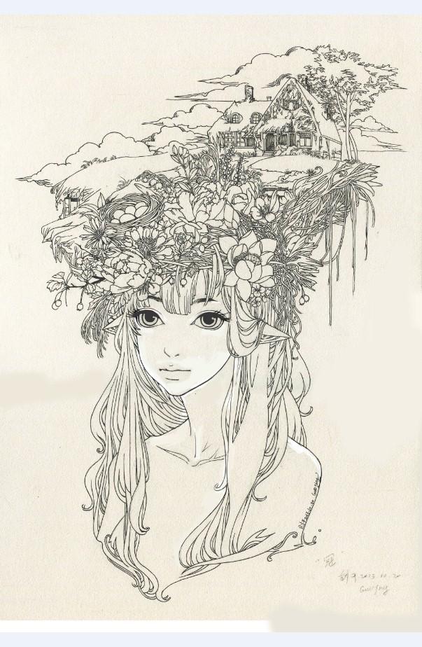 纯手绘插画创作过程