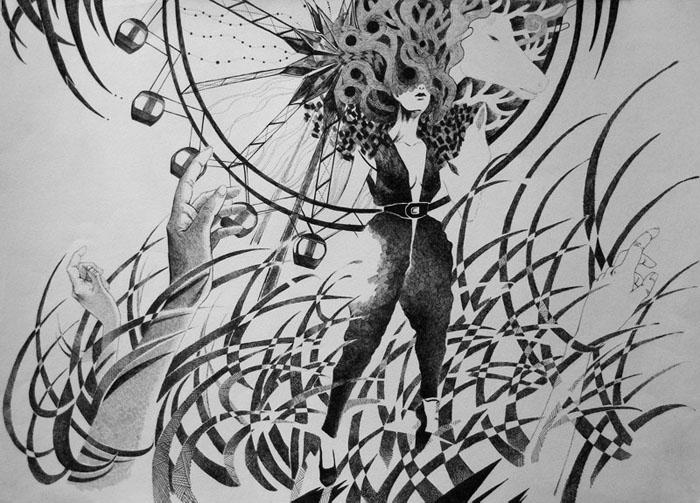 黑白 手绘 唯美 细腻