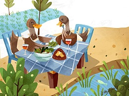 与归来兮有机农庄合作的稻田鸭插画
