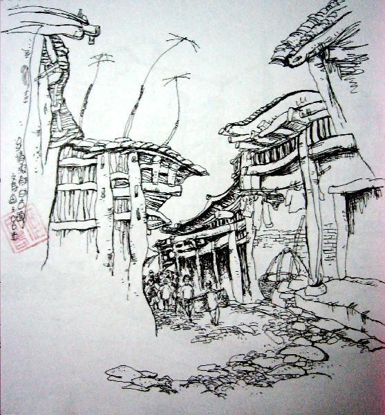 黑色水笔手绘楼房