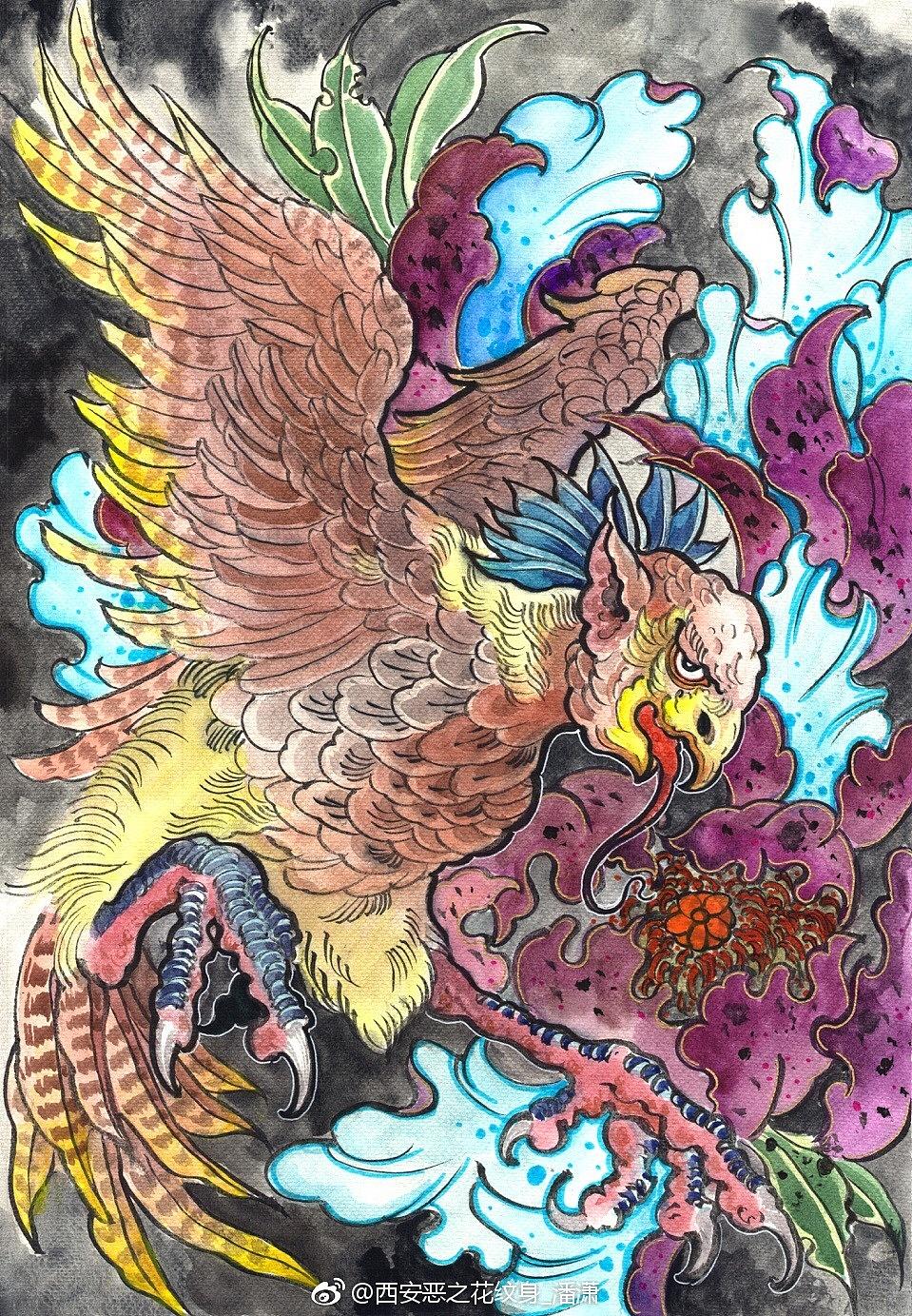 分别是竦斯,厌火,化蛇,狰.结合纹身风格进行的系列插画设计.图片