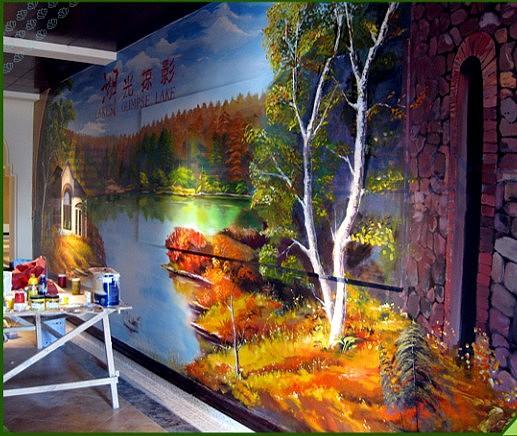 青岛墙绘/青岛墙绘青城艺术作品--风景油画