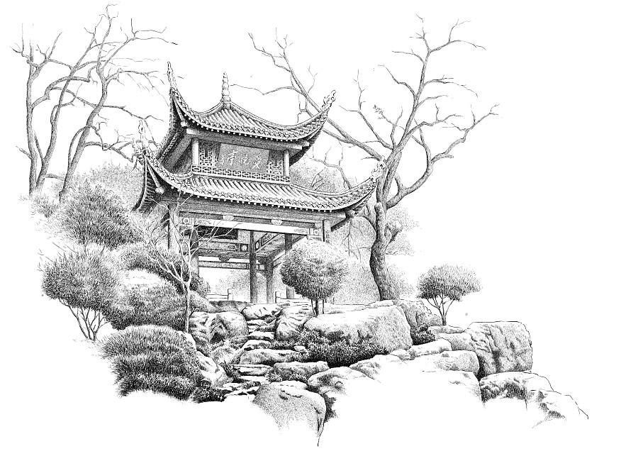 楚歌钢笔画-风景系列 长沙-爱晚亭