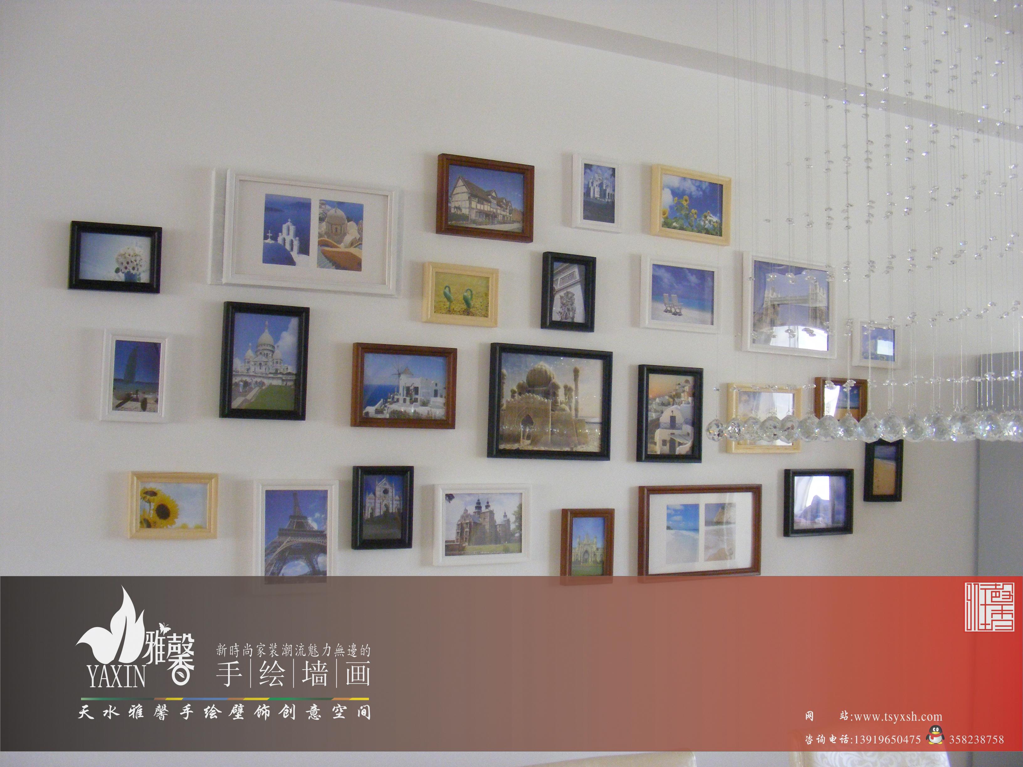 """照片墙还可以演变为手绘照片墙,另外,门,衣柜等也可以成为展示照片的"""""""