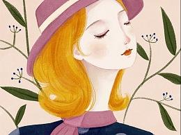 少女涂鸦风封面包装插画