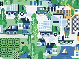 Karol Banach为欧洲著名环保公司创作宣传插画