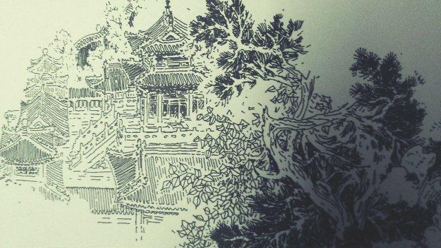 钢笔画.园林