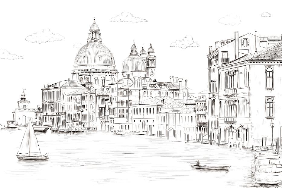 黑白城市 城市手绘图片