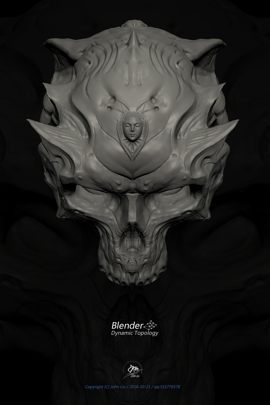 查看《Blender动态雕刻极限测试作品-双生头骨》原图,原图尺寸:1280x1920