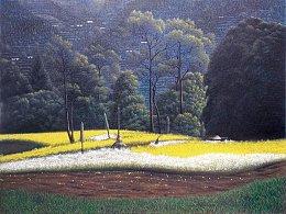 我的原创油画作品《山中春色》