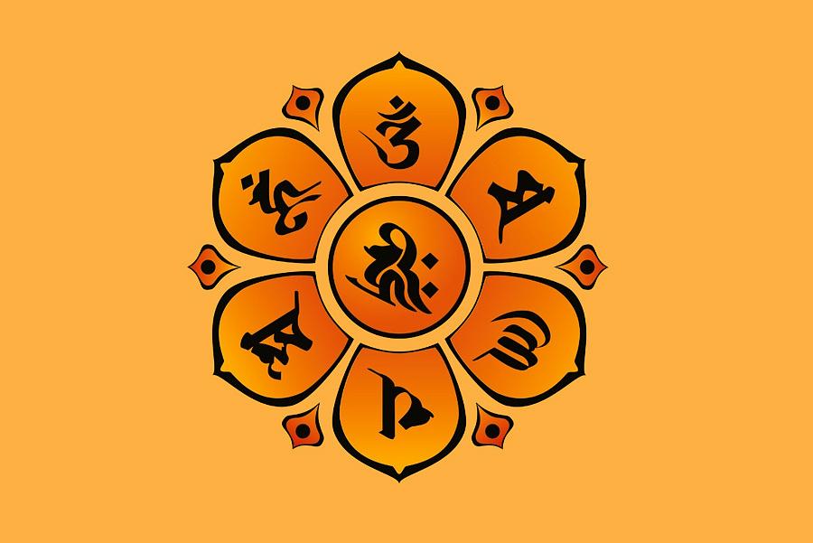背面使用梵文六字真言符号