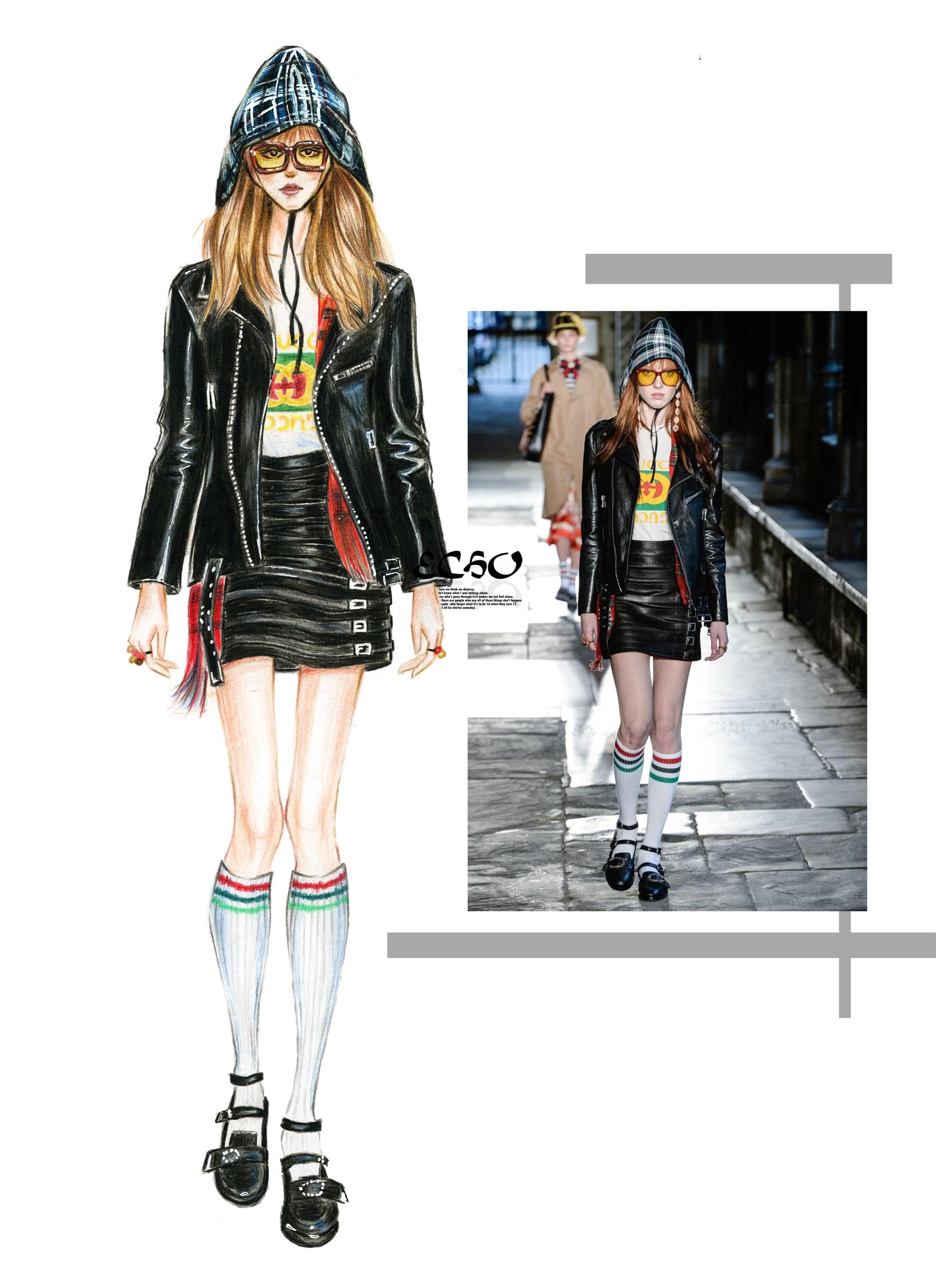手绘服装时装画