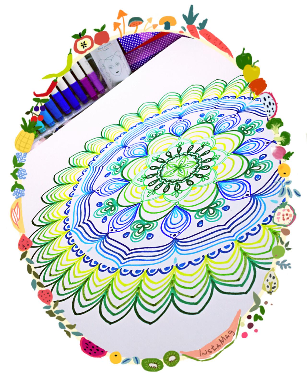 装饰画,手绘,插画,黑白装饰画,线描,曼陀罗