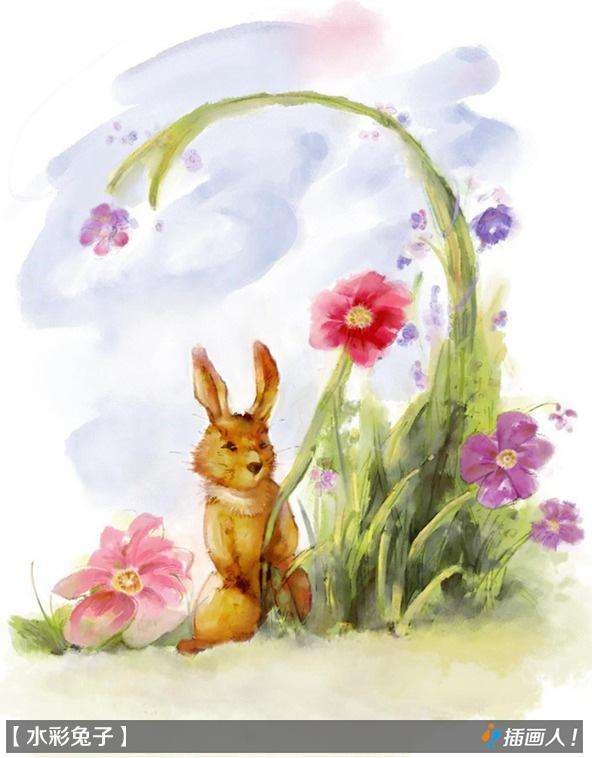 中国风水彩画兔子先生和黄鹂|概念设定|插画|cha