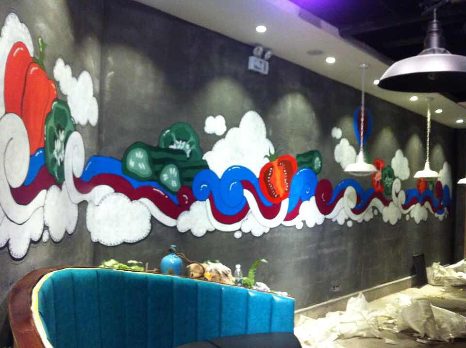 饭店墙绘图片素材