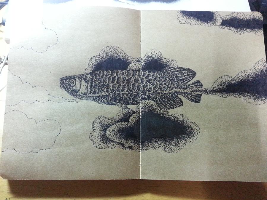 黑白装饰画——鱼(临于疯子木)图片