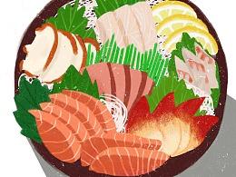 扁平食物插画板绘临摹练习