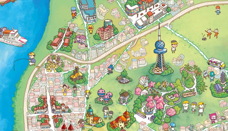 原创作品:q版手绘地图-青岛|商业插画|插画|成哲piea