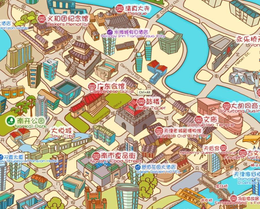 天津旅游手绘地图|dm/宣传单/平面广告|平面|马