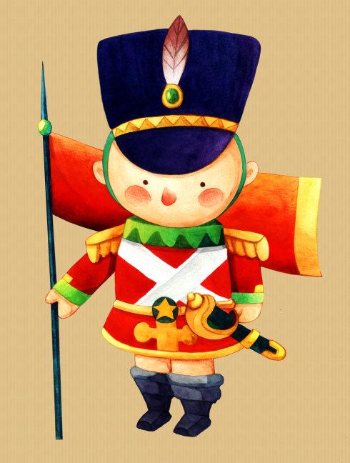 玩具小士兵 手绘水彩上色