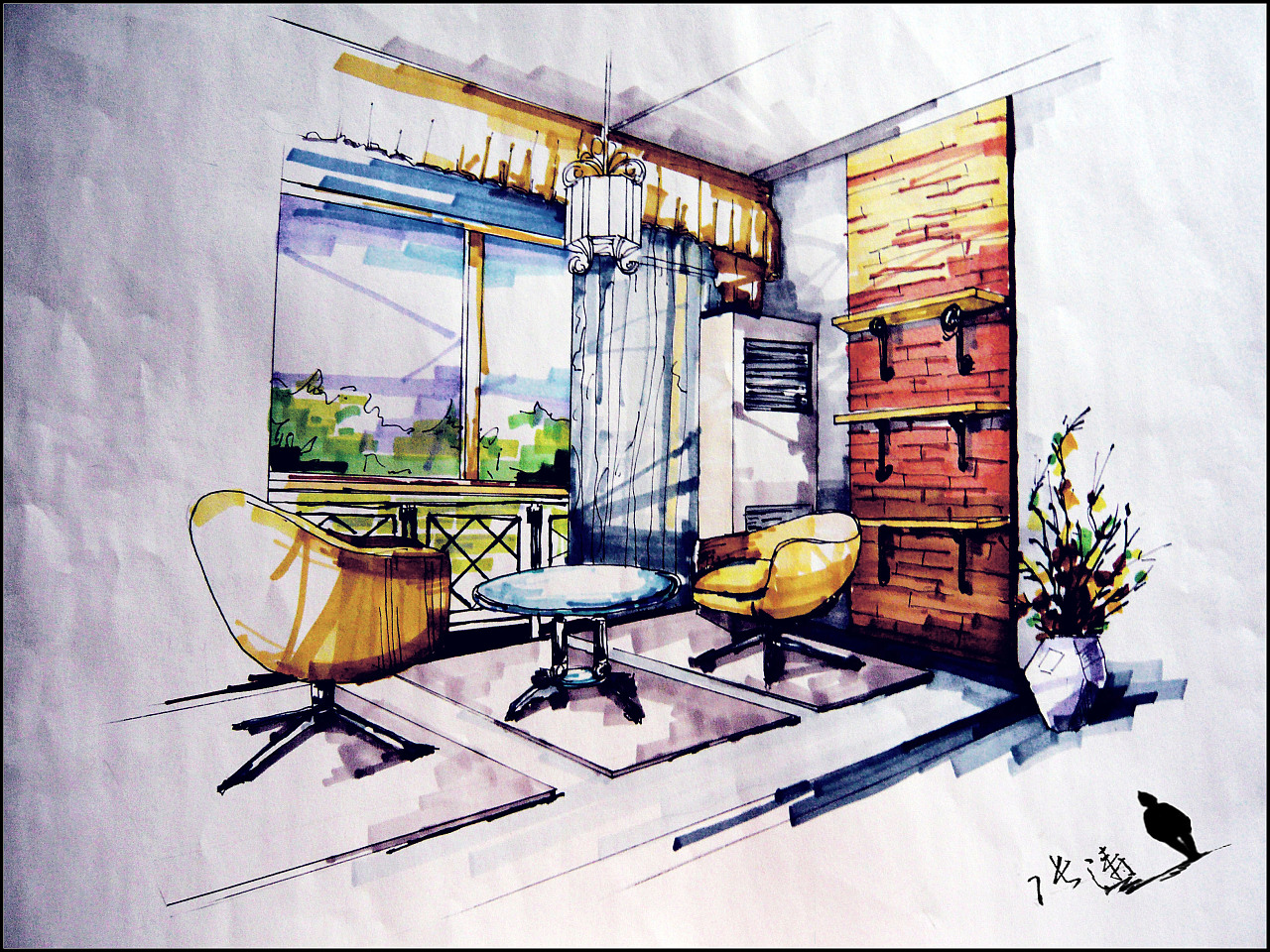 室内设计效果图手绘_手绘室内效果图|插画|插画习作|鬼魅麽麽 - 原创作品 - 站酷 (ZCOOL)