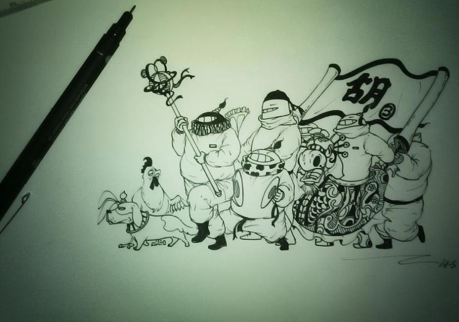 手绘漫画小品,ps上色|绘画习作|插画|二楼的老鬼