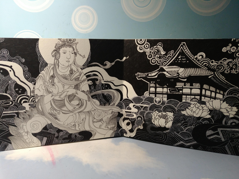 普贤——手绘 中国风 黑白 菩萨 日式