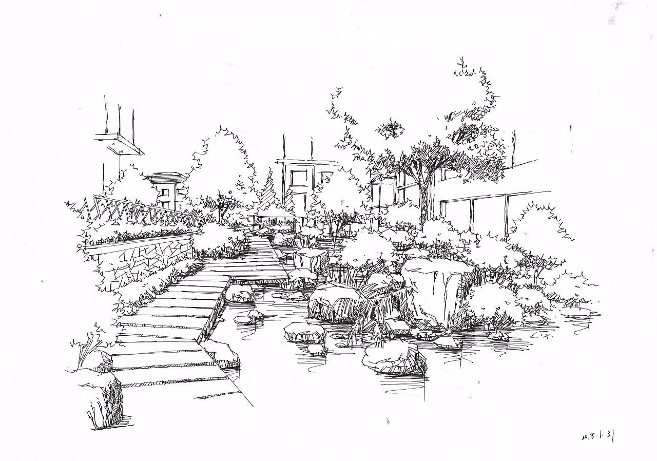 风景园林手绘效果图~~几个月前的练习