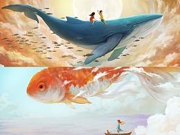 大鲸鱼与大金鱼