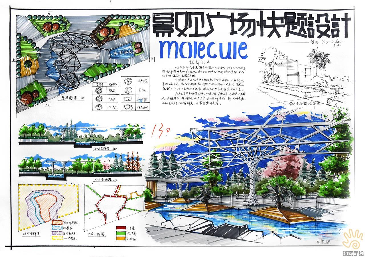 环艺景观设计手绘快题 室内手绘快题 建筑景观手绘快题图片