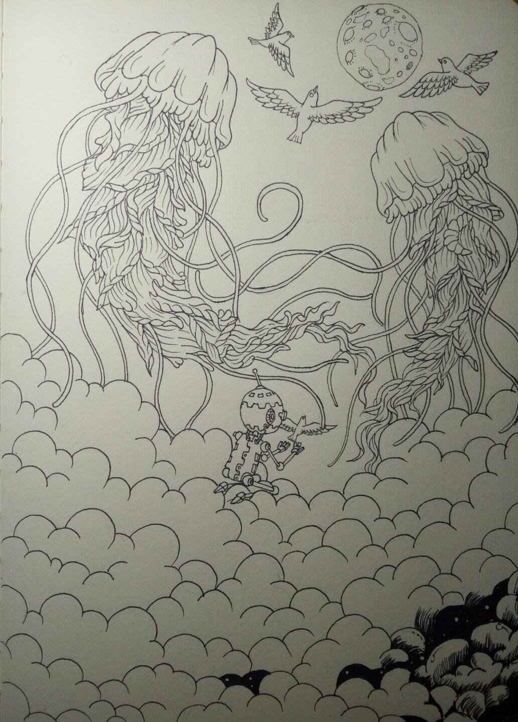 夜空手绘简笔画