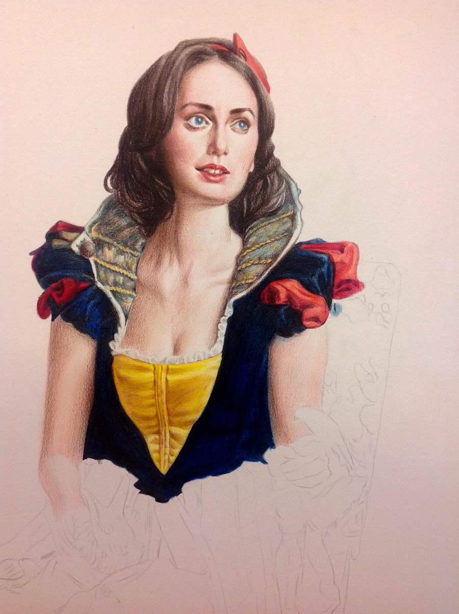 白雪公主|彩铅|纯艺术|凡彩手绘 - 原创设计作品