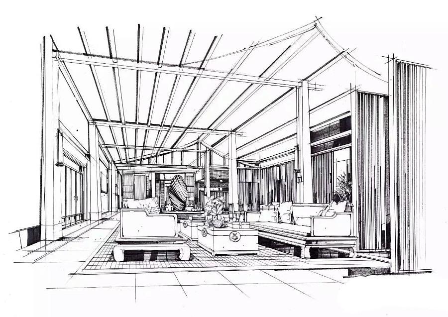室内马克笔手绘|室内设计|空间/建筑|尚贤 - 原创设计