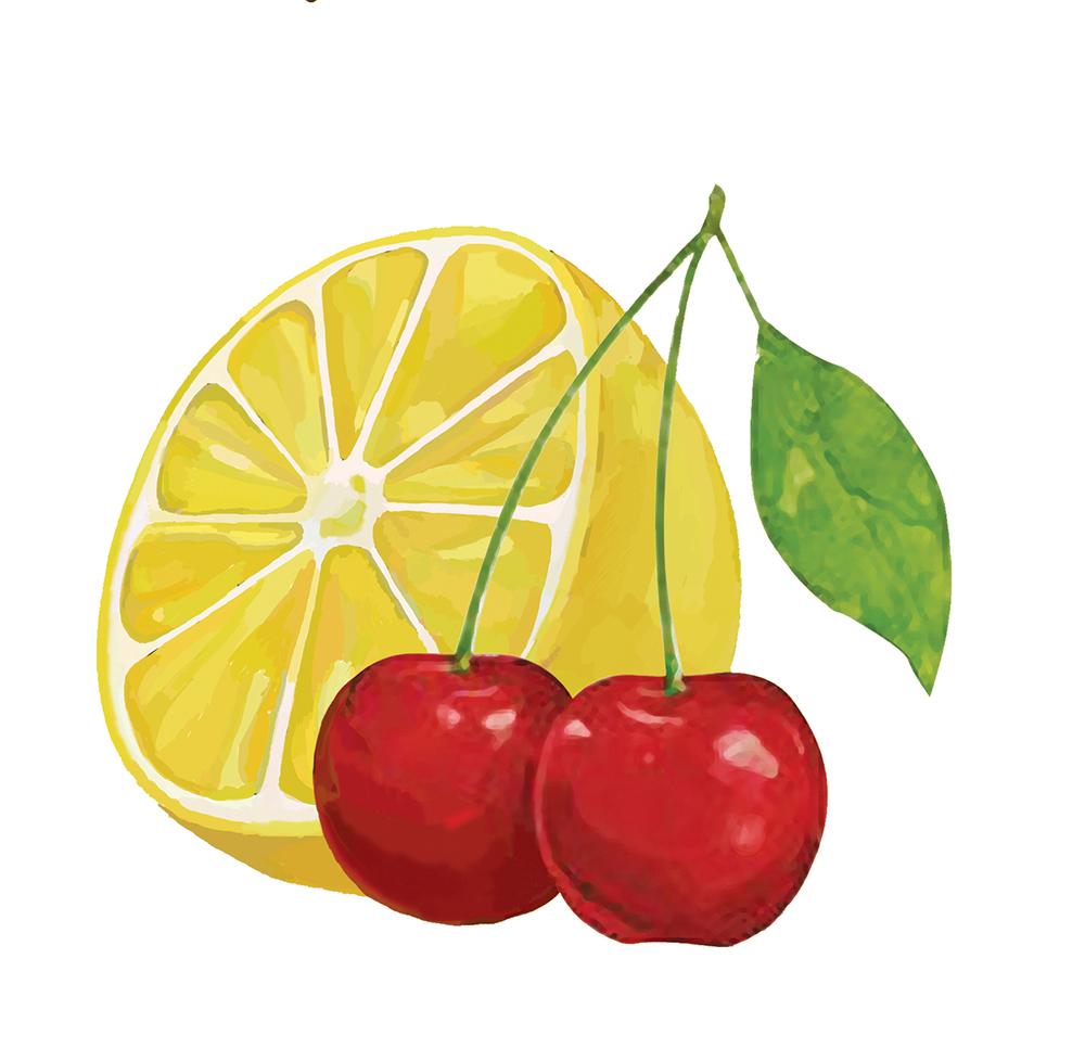 电子手绘柚子和樱桃