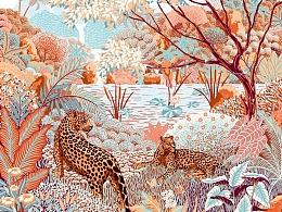 丝巾设计—丛林野趣