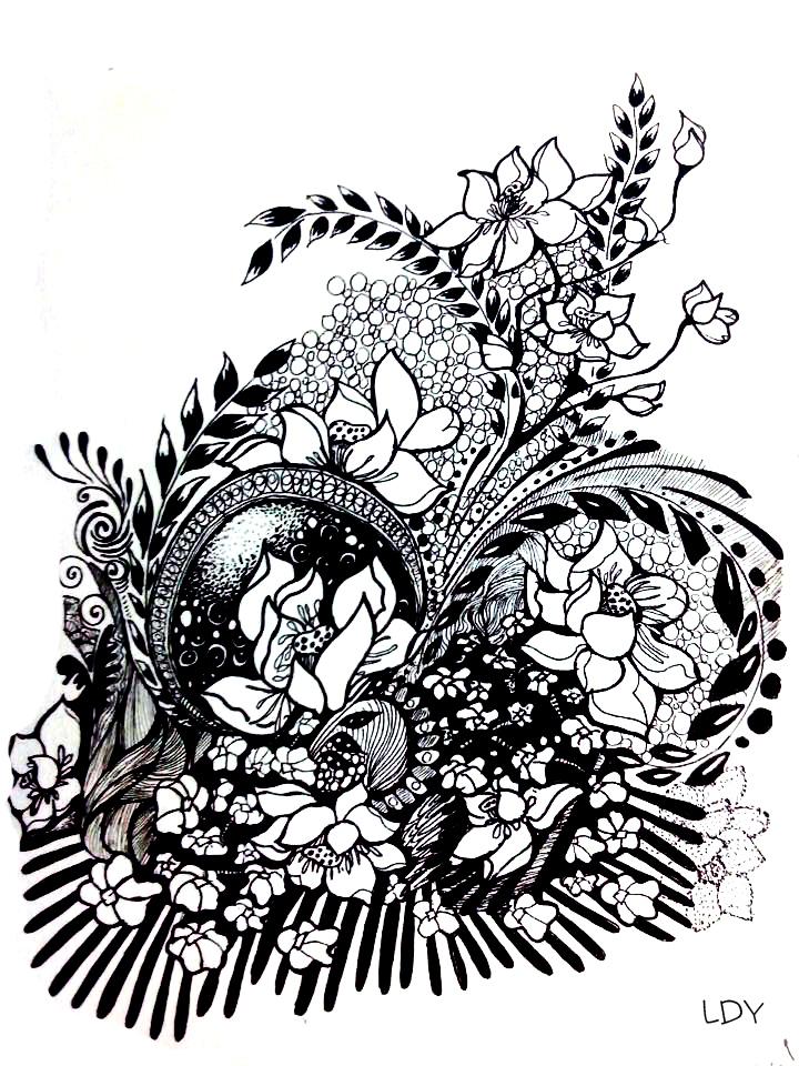 黑白手绘插画|绘画习作|插画|刺仙人掌301