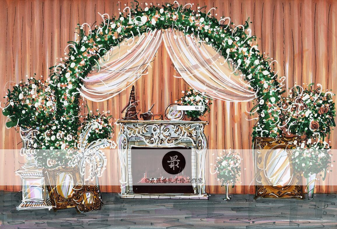 【婚礼手绘】马克笔手绘效果图|空间|舞台美术|最强
