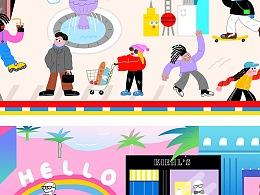 粉紫色插画合集