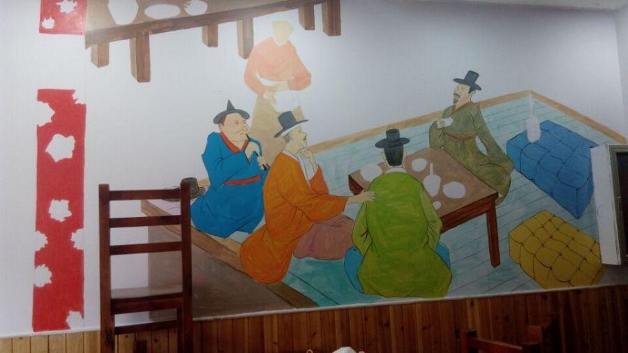 烧烤墙画-太原大花布 烤肉 餐厅墙绘 油画 纯艺术 hanyash
