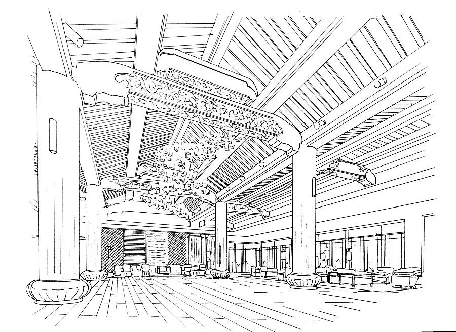酒店室内手绘|其他空间|空间/建筑|凌海