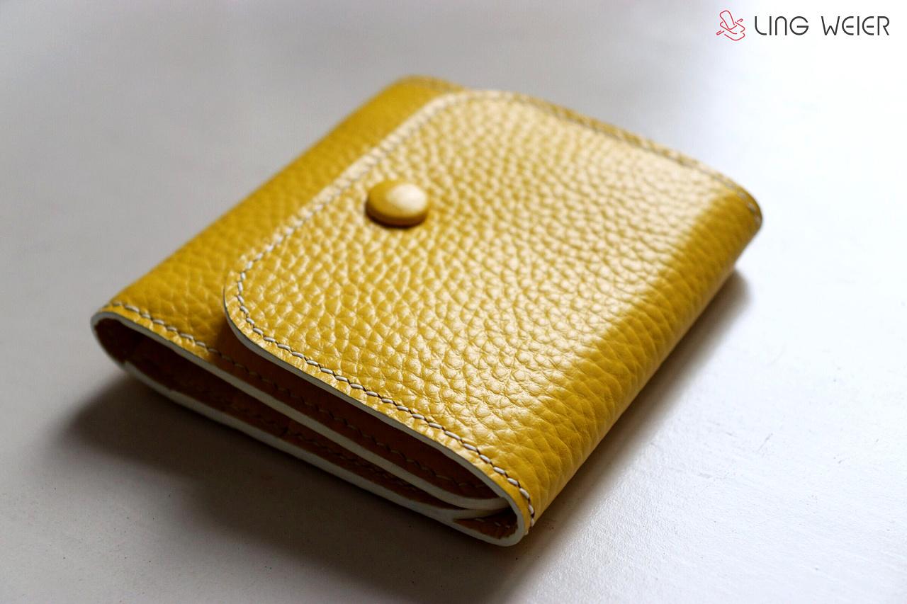 lingweier柠檬黄三折钱包 手工钱包