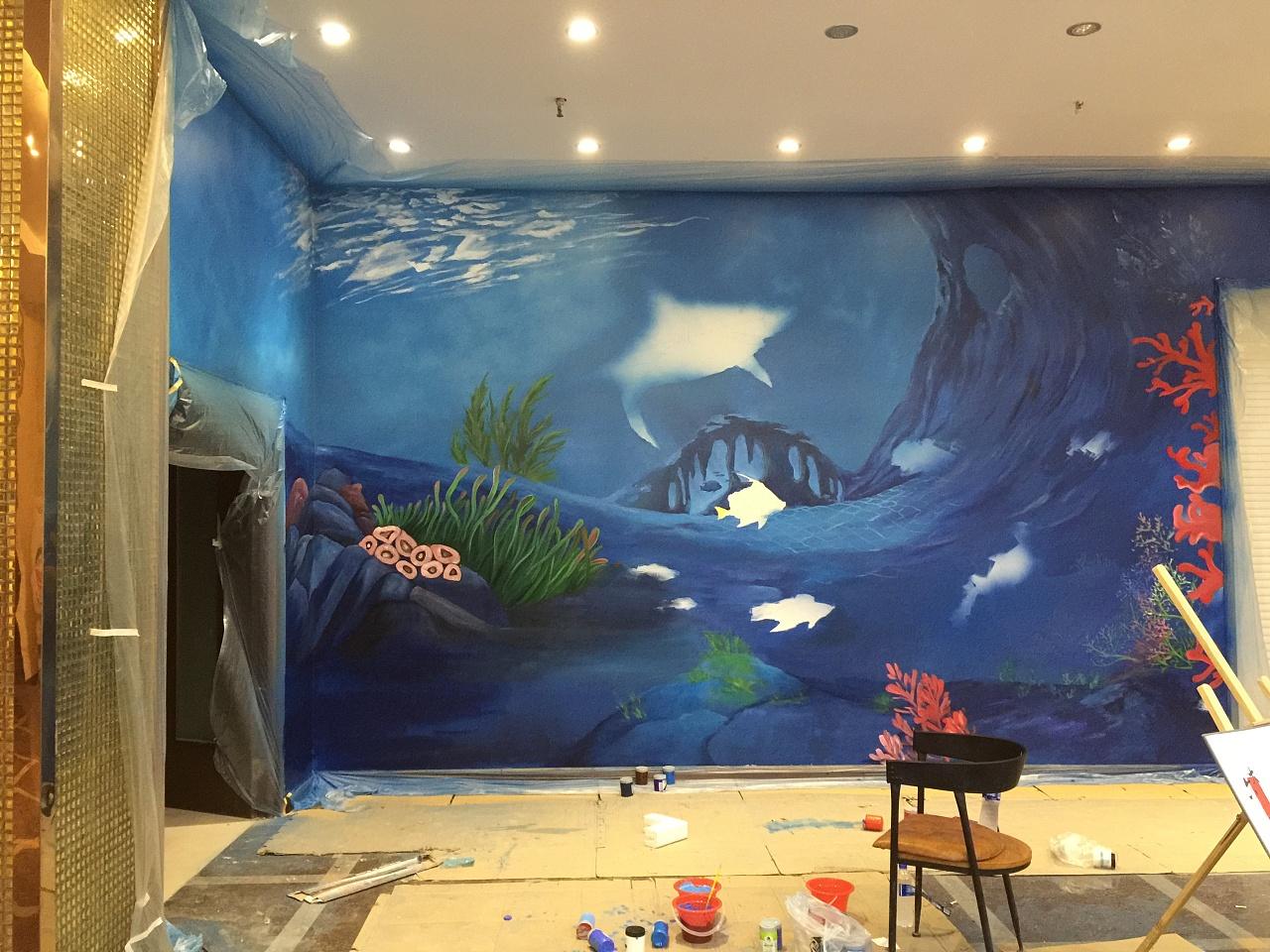 南通海安画的两幅海底世界,喜欢的朋友欢迎