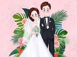猫绵绵RMianMian 婚礼插画情侣画像手绘结婚请柬人物