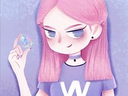 #粉紫系小姐姐插画