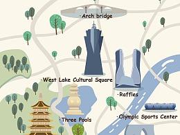 扁平风杭州地图