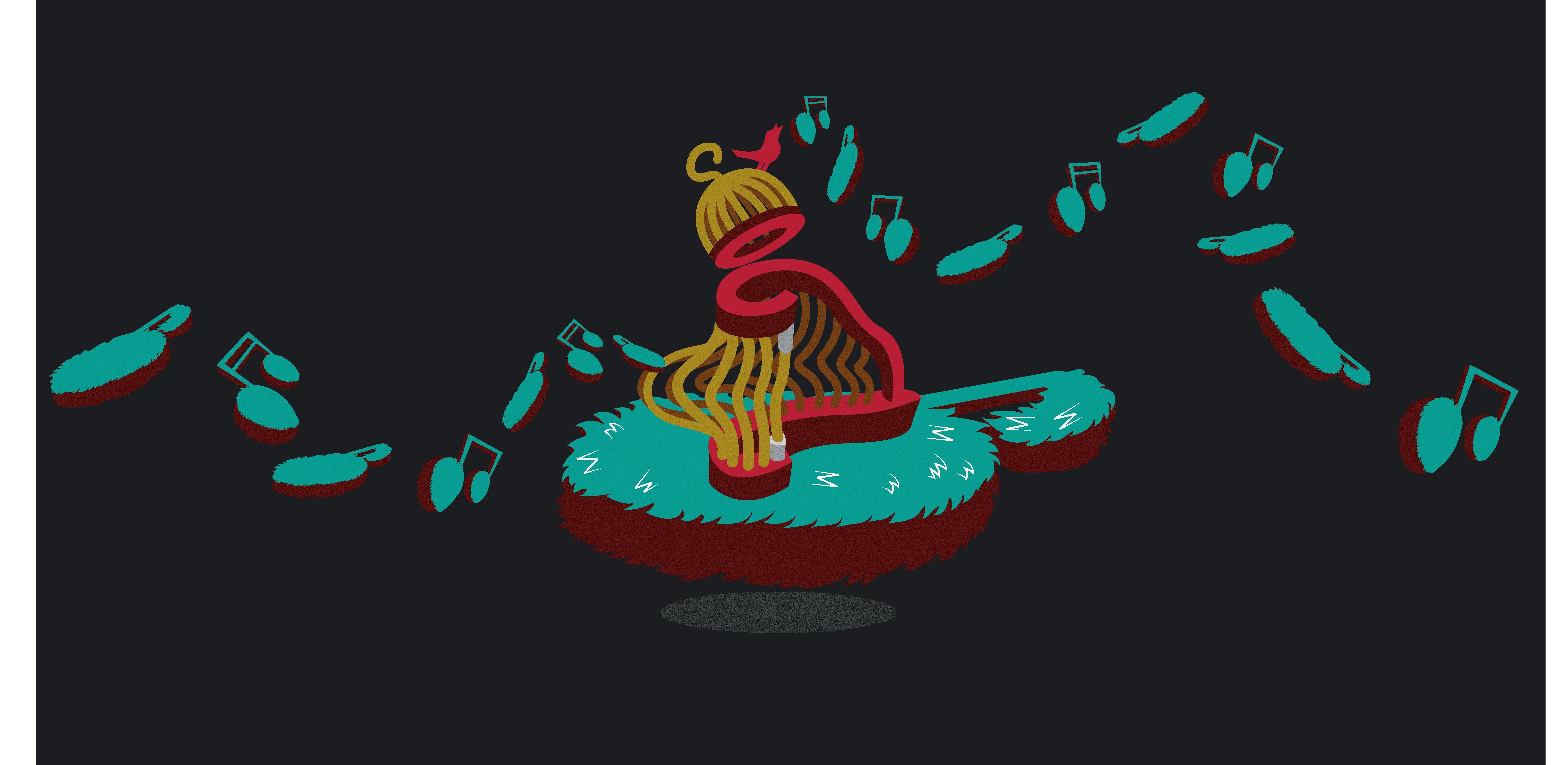 鸟笼打开变成了北欧的乐器里拉琴,小鸟图片