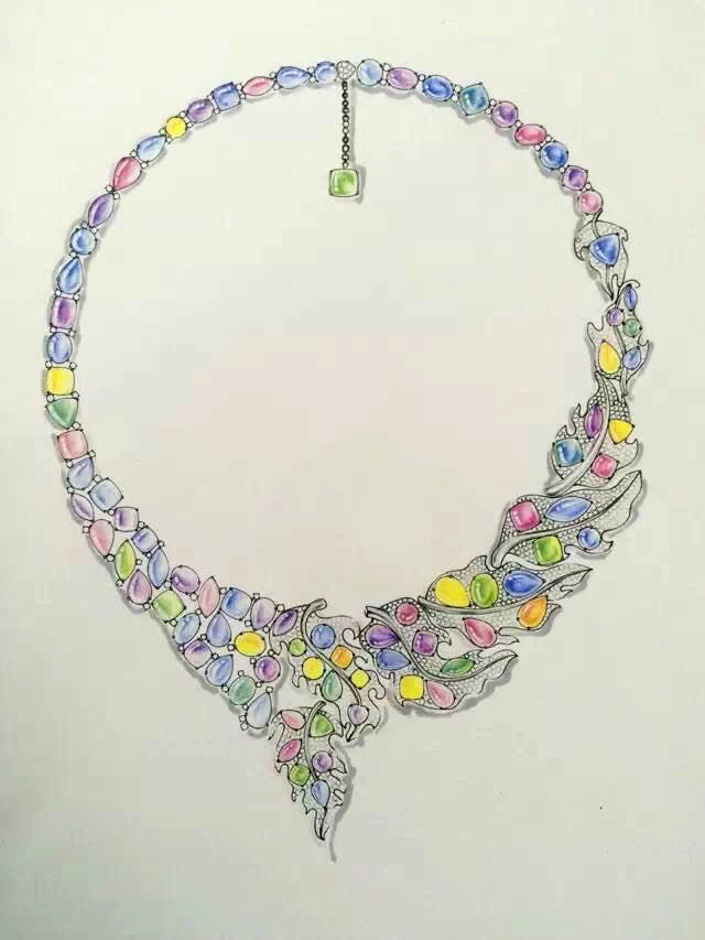 珠宝手绘临摹作品|绘画习作|插画|山佳木亚木南